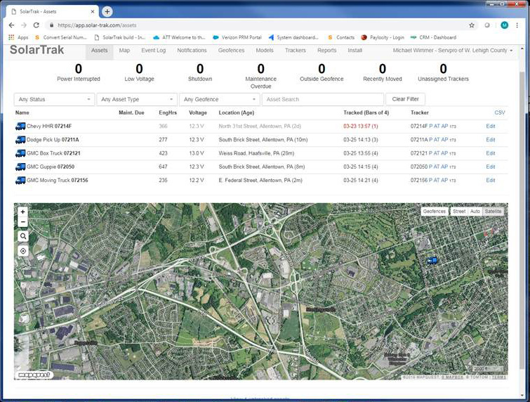 SolarTrak's Map and Equipment List View